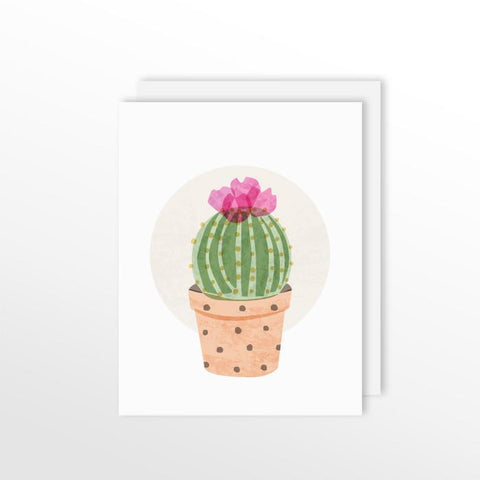 Cute Cacti Card - Ball Cactus Stationery by ColorBee Creative Color And Flair