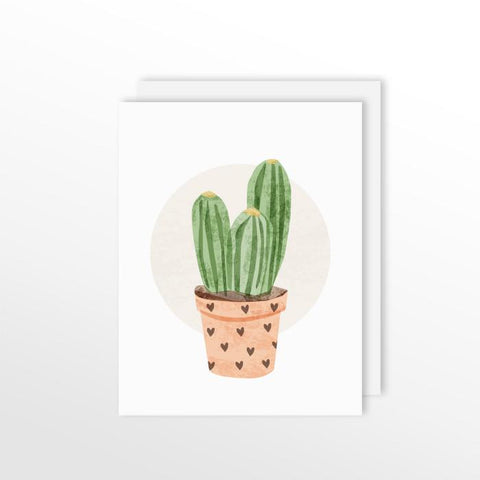 Cute Cacti Card - Column Cactus Stationery by ColorBee Creative Color And Flair