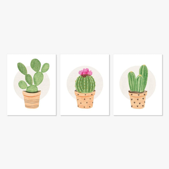 Image of 3 Cactus Succulent Plants Art Prints by ColorBee ColorAndFlair