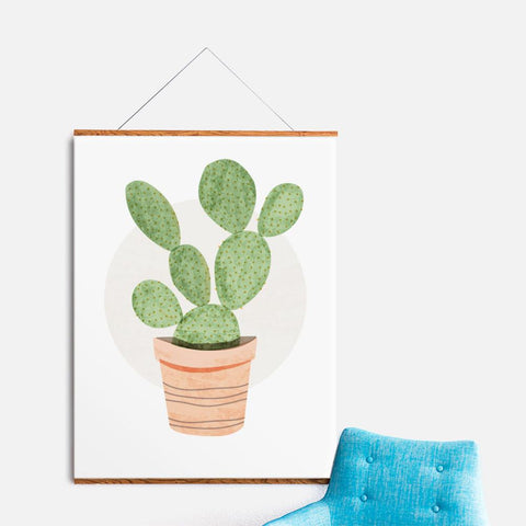 Green Prickly Pear Cactus Print
