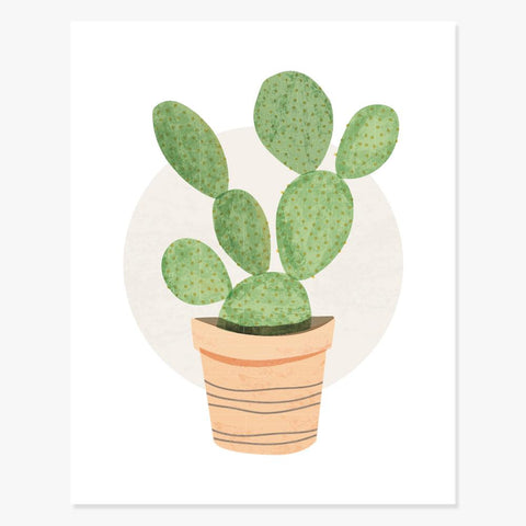 Art Print: Prickly Pear Cactus Art Print by Color And Flair Color And Flair