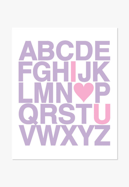 I Love You Alphabet | Text Design Purple Pink