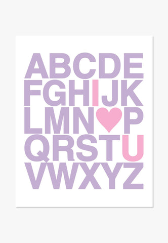 Art Print: Alphabet (Purple & Pink) Art Print by ColorBee Creative Color And Flair