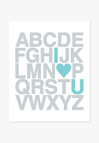 I Love You Alphabet | Text Design Silver / Turquoise