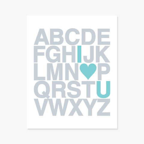 Art Print: Alphabet (Silver & Teal) Art Print by Color And Flair Color And Flair
