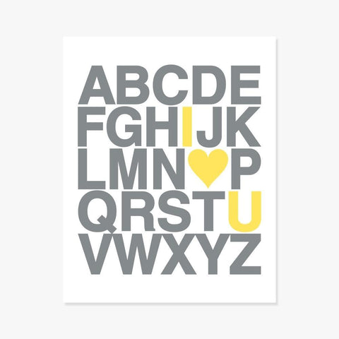 Art Print: Alphabet (Gray & Yellow) Art Print by Color And Flair Color And Flair