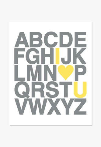 Art Print: I Love You ABC Alphabet (Yellow & Gray)