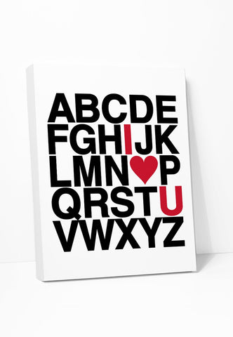 I Love You Alphabet Canvas - Red & Black