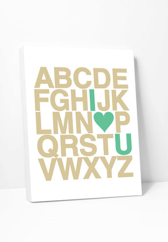 Canvas Print: Alphabet (Green & Gold) Gallery Wrapped Canvas by Color And Flair Color And Flair