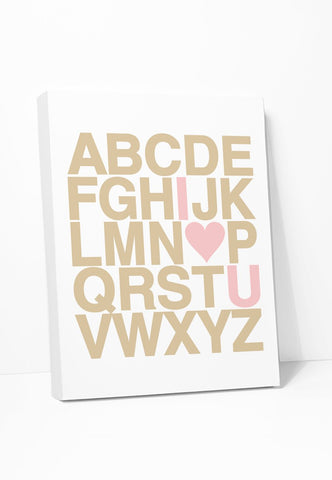 Canvas Print: Alphabet (Pink Heart) Gallery Wrapped Canvas by Color And Flair Color And Flair