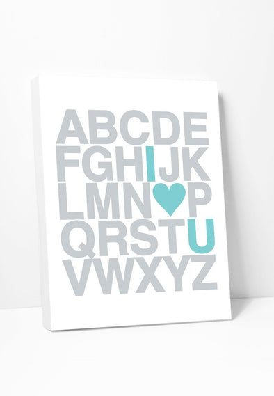 Canvas Print: Alphabet (Silver & Turquoise) Gallery Wrapped Canvas by Color And Flair Color And Flair