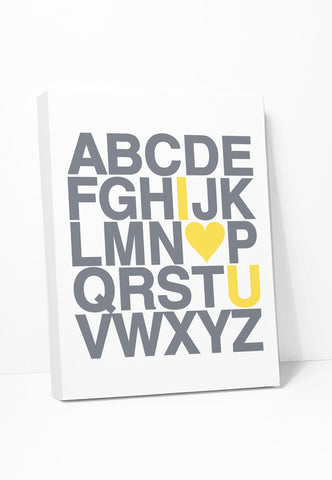 I Love You Alphabet on Canvas | Gray Yellow