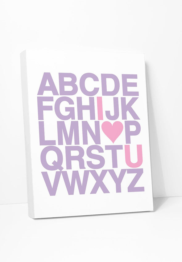 I Love You Alphabet (Lilac & Pink) Canvas Print Gallery Wrapped Canvas by ColorBee Creative