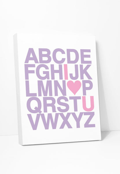 'I Love You Alphabet' Printed on Canvas in Lilac & Pink