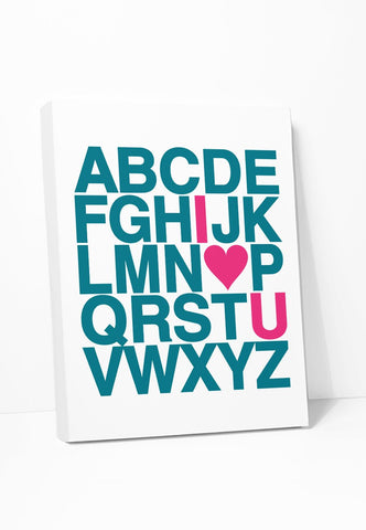 Canvas Print: Alphabet (Teal & Pink) Gallery Wrapped Canvas by Color And Flair Color And Flair