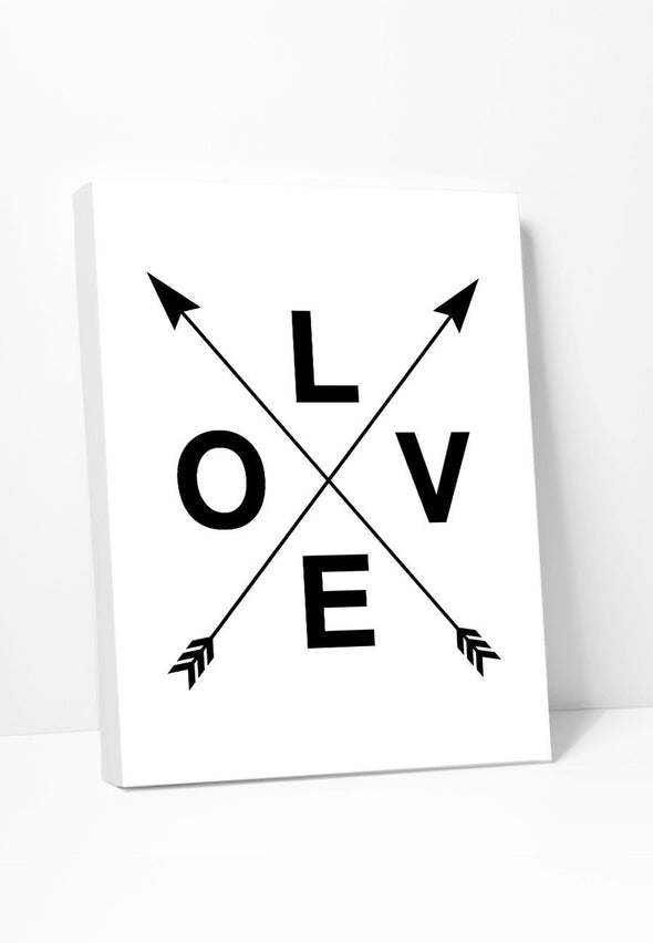 Love With Crossed Arrows Canvas Print Gallery Wrapped Canvas by ColorBee Creative