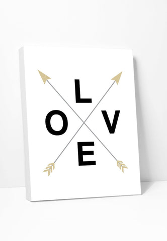 Canvas Print: Love With Crossed Arrows Gallery Wrapped Canvas by Color And Flair Color And Flair