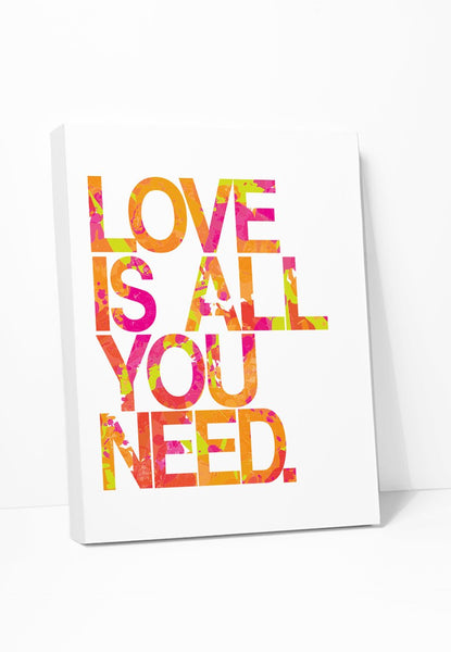 Canvas Print: Love Is All You Need (Pink & Orange) Gallery Wrapped Canvas by Color And Flair Color And Flair