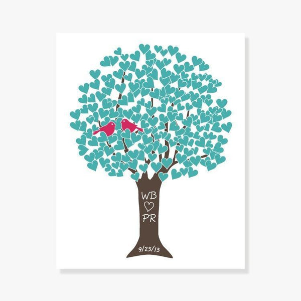 Personalized Love Tree Art Print makes a great wedding gift - Aqua, Fruit Punch, Brown