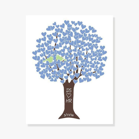 Personalized Love Tree Art Print Wedding Shower Gift -Blue, Green, Brown