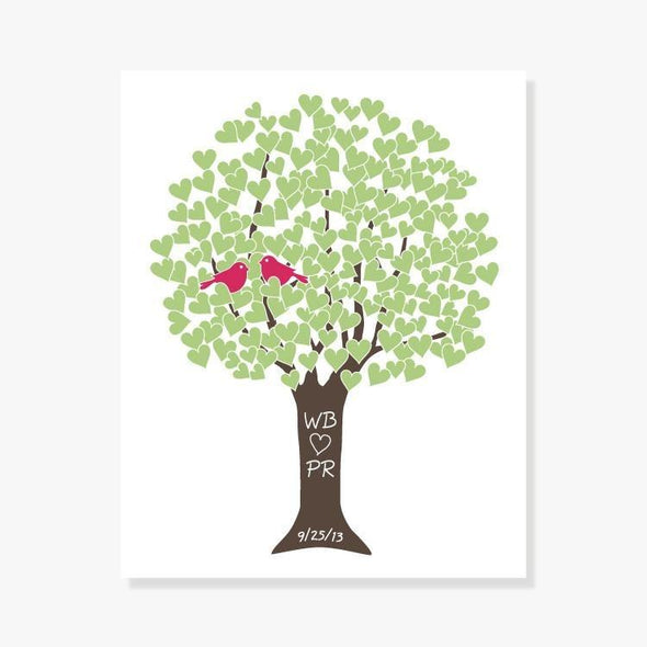 Anniversary Love Tree Personalized Art Print (Teal, Green or Taupe)