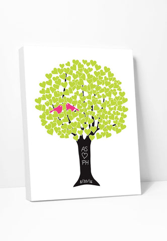 Canvas Print: Love Tree (Lime & Pink) Gallery Wrapped Canvas by Color And Flair Color And Flair
