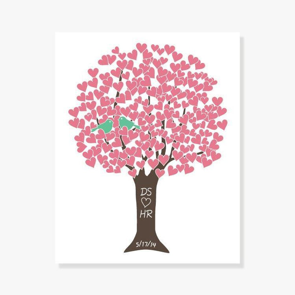 Monogrammed Bridal Shower Gift - Personalized Love Tree in Pink, Green, Brown