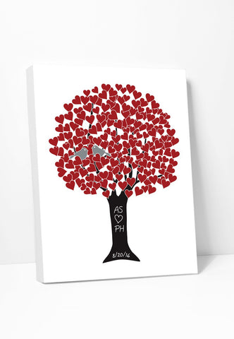 Canvas Print: Love Tree (Red & Black) Gallery Wrapped Canvas by ColorBee Creative Color And Flair