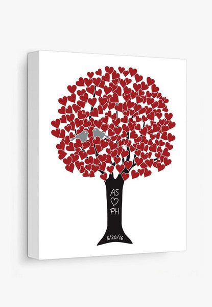 Canvas Print: Love Tree (Red & Black) Gallery Wrapped Canvas by Color And Flair Color And Flair