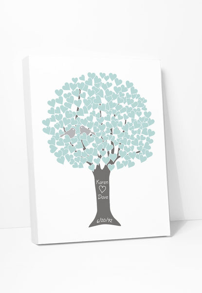 Canvas Print: Love Tree (Teal, Silver, Grey) Gallery Wrapped Canvas by Color And Flair Color And Flair