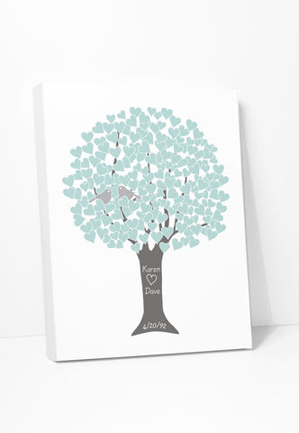 Canvas Print: Love Tree (Teal, Silver, Grey)