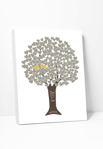 Canvas Print: Love Tree (Taupe & Marigold) Gallery Wrapped Canvas by Color And Flair Color And Flair
