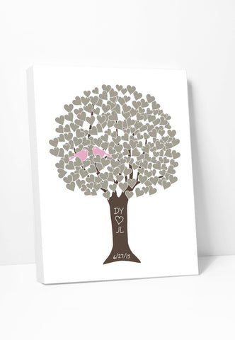 Canvas Print: Love Tree (Taupe & Pink) Gallery Wrapped Canvas by ColorBee Creative Color And Flair