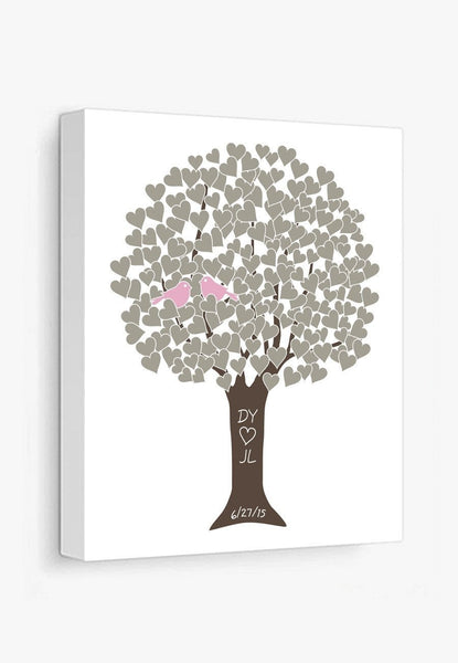 Canvas Print: Love Tree (Taupe & Pink) Gallery Wrapped Canvas by Color And Flair Color And Flair