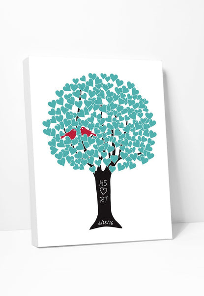 Canvas Love Tree Print in Aqua Red & Black