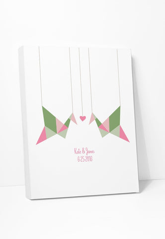 Canvas Print: Personalized Origami Birds Gallery Wrapped Canvas by Color And Flair Color And Flair