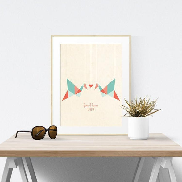 Origami Birds Personalized Art Print Art Print by ColorBee Creative
