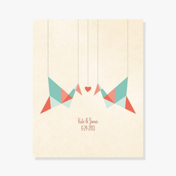 Personalized Origami Birds Art Print by Color And Flair Color And Flair