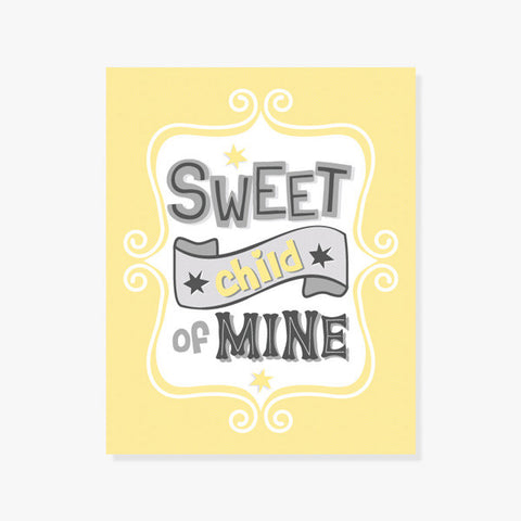 Sweet Child of Mine | Typography Poster in Yellow