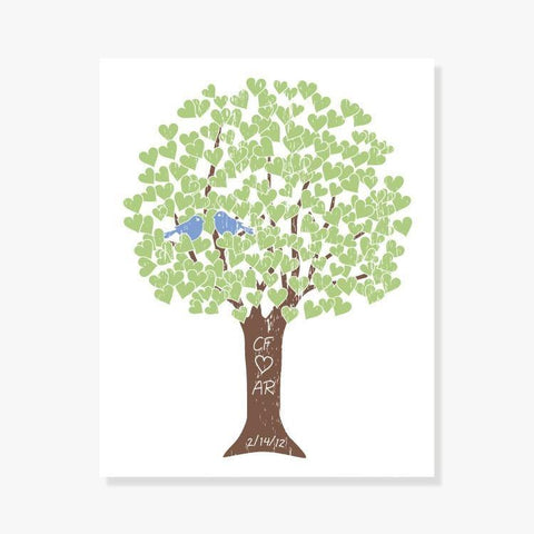 Monogrammed bridal shower gift - Love Tree in Green, Blue, Brown