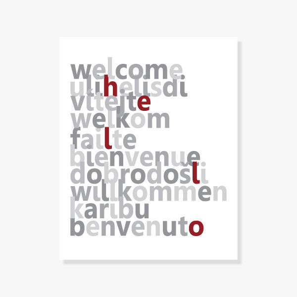 Welcome poster | Typographic Art Print says welcome in 10 languages. A modern housewarming gift.