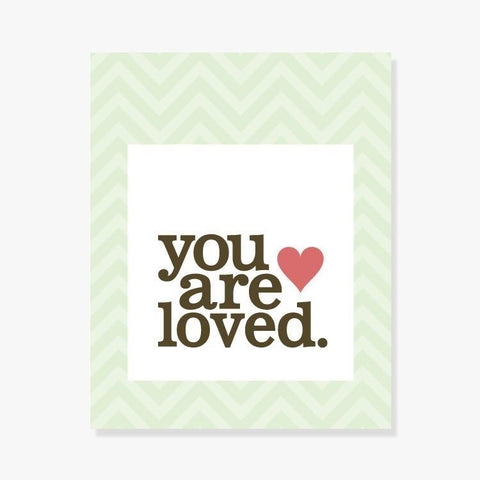 You Are Loved | Nursery art in green for a gender neutral baby shower gift
