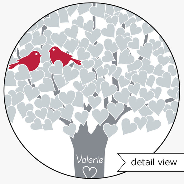 Anniversary Tree Personalized Art Print (Silver, Red)