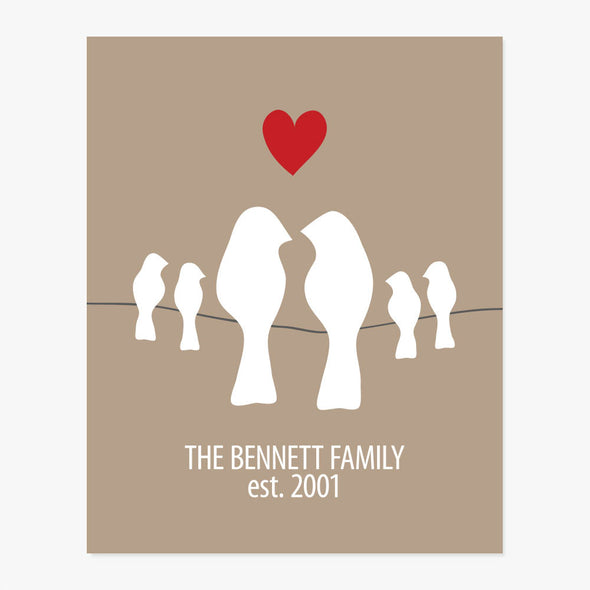 Family Established Date Personalized Art Print (Teal, Charcoal, Green or Tan) Multiple Sizes