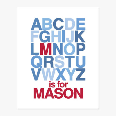 Alphabet Name Personalized Art Print (Red & Blue)