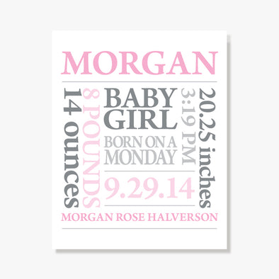 Baby Girl Birth Announcement Personalized Art Print (Pink & Grey)