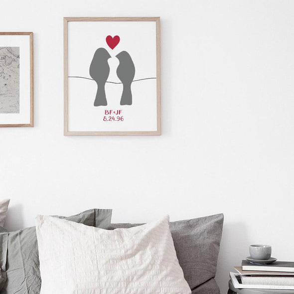 Love Birds Personalized Art Print (Silver, Grey or Charcoal) Art Print by ColorBee Creative