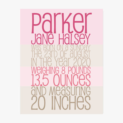 Baby Striped Print Personalized Art Print (Pink)