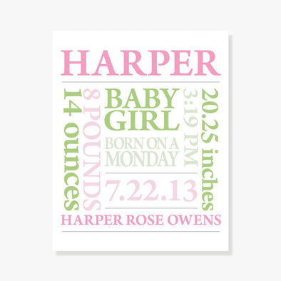 Baby Birth Announcement Personalized Art Print (Pink & Green)