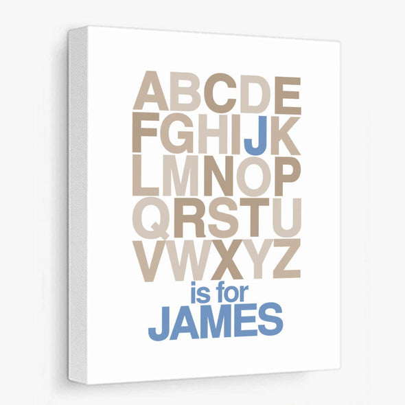 Alphabet Name (Blue & Khaki) Personalized Canvas